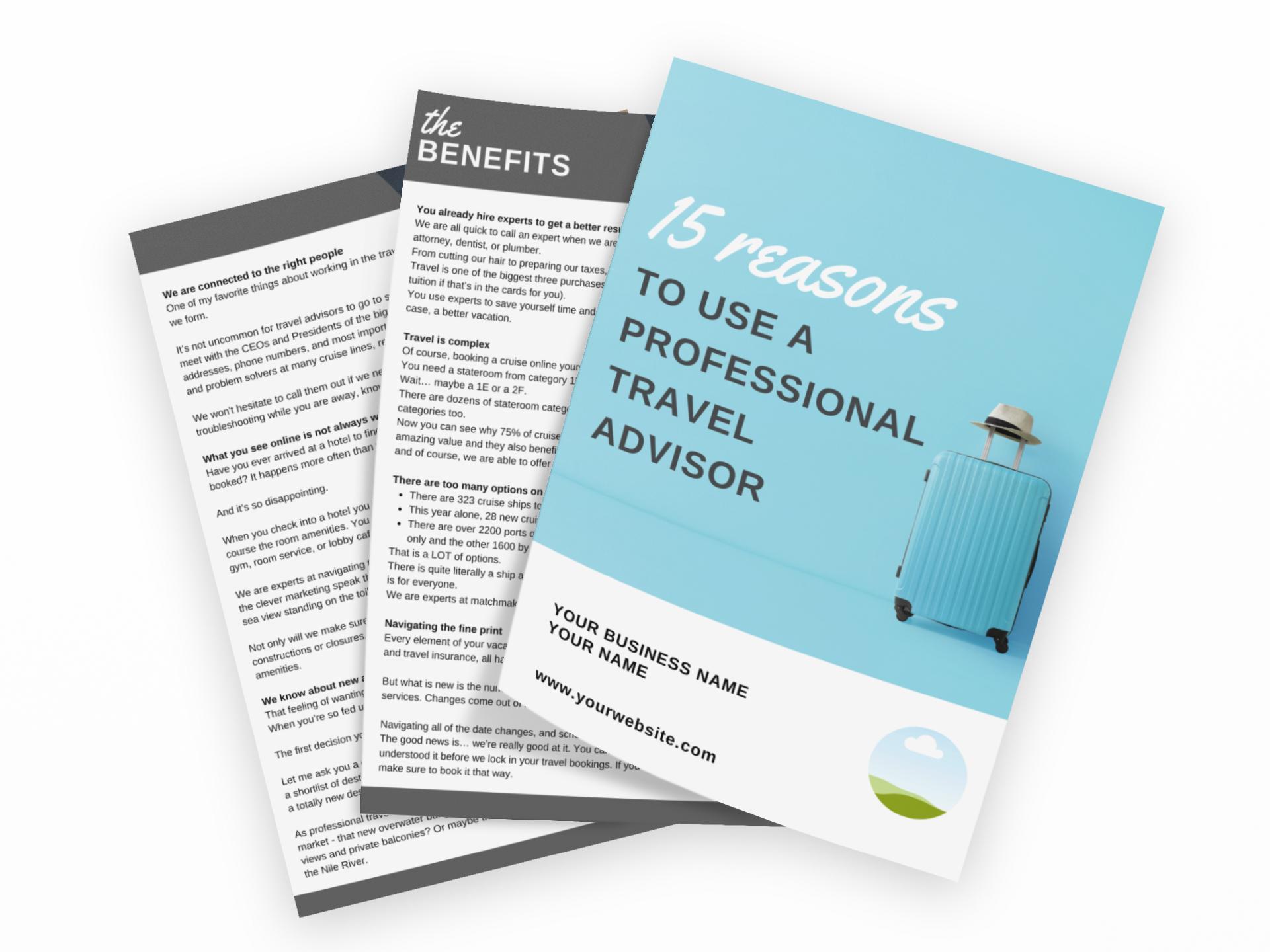 REASONS TO USE A PROFESSIONAL TRAVEL ADVISOR